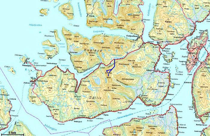 kart over kvaløya Durmålstinden kart over kvaløya