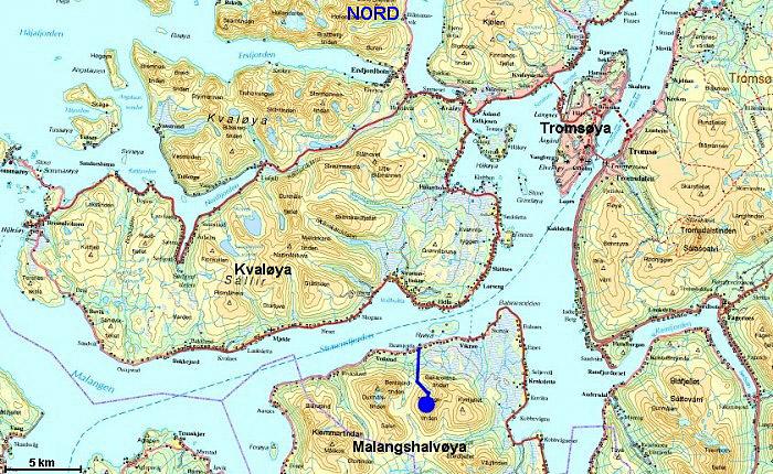kart over kvaløya Middagstinden ved Vikran kart over kvaløya