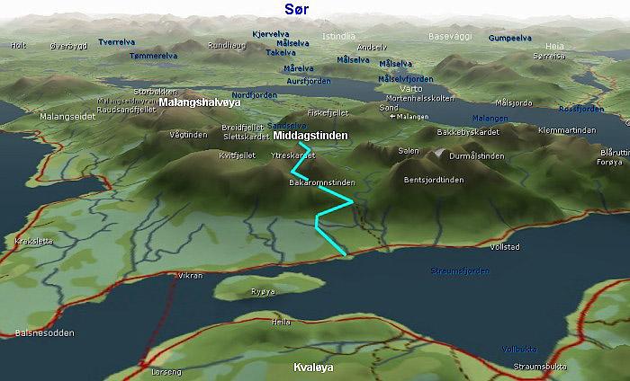 kart 3d norge Middagstinden ved Vikran kart 3d norge