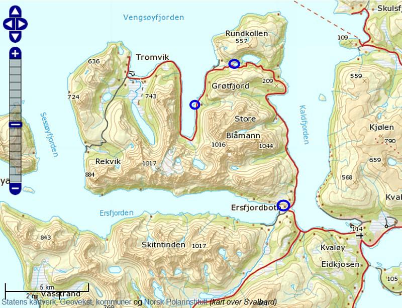 kart over kvaløya Nordlystur på Kvaløya kart over kvaløya