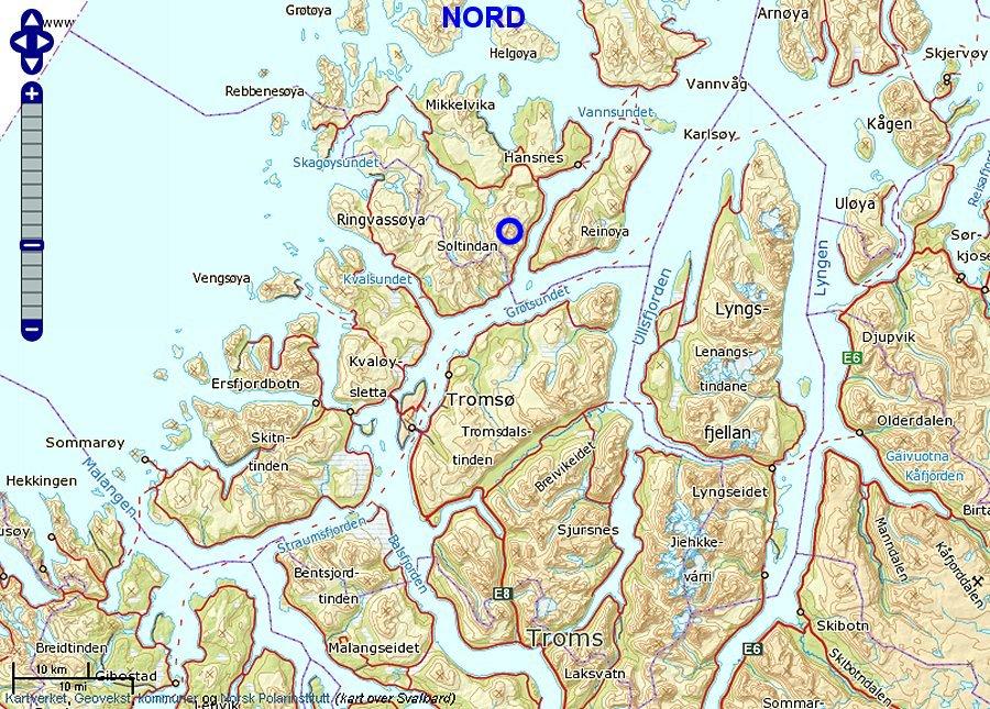 kart ringvassøy Soltindan 1000 kart ringvassøy