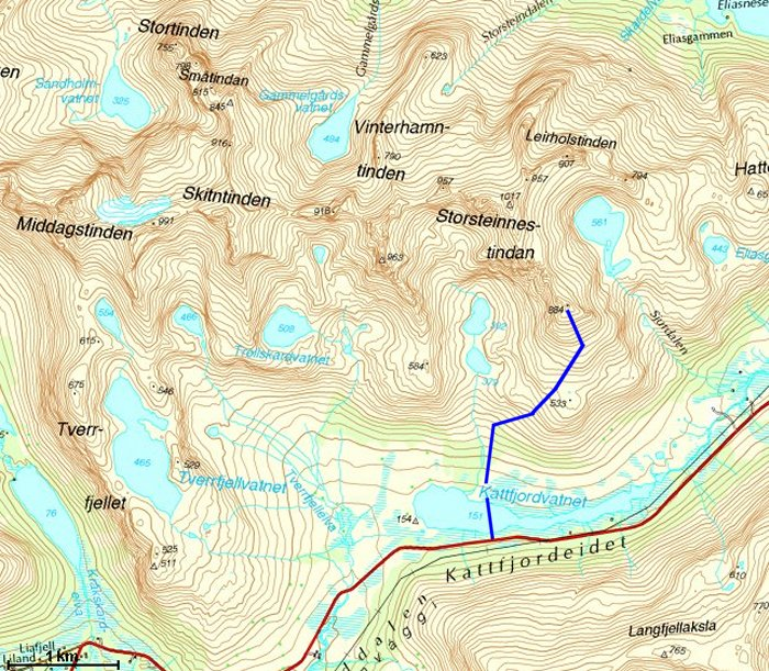 kattfjordeidet kart Storsteinnestindan 884 kattfjordeidet kart