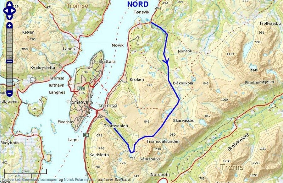 kart over tromsdalen Tønsvik   Tromsdalen kart over tromsdalen