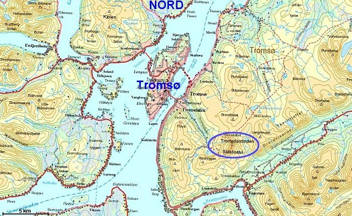 kart over tromsø Tromsdalstinden kart over tromsø