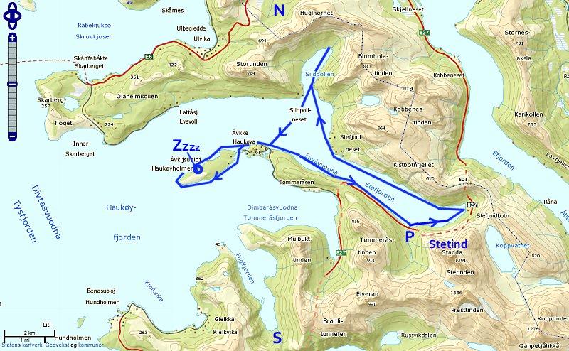 kart tysfjord Tysfjord, Stefjorden